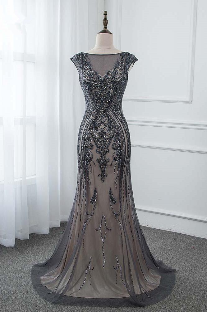 BMbridal Glamorous Jewel Black Mermaid Prom Dresses with Appliques Rhinestones