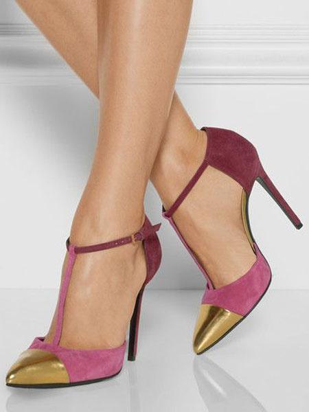 Milanoo Women High Heels Suede Pointed Toe T Type Stiletto Heel Dress Shoes