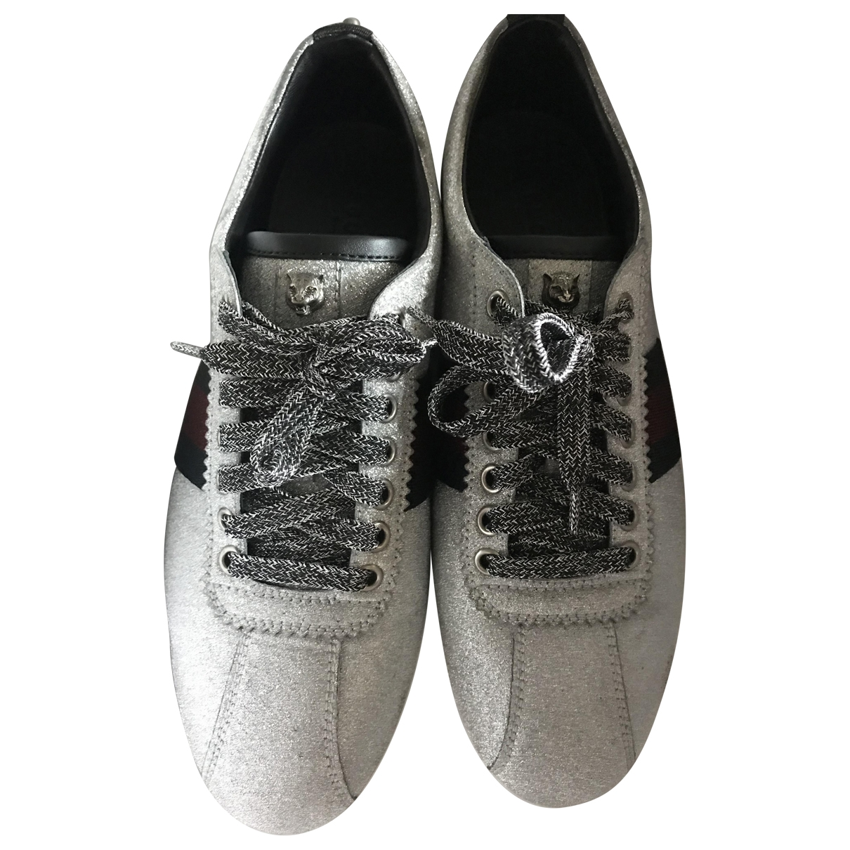 Gucci Ace Grey Glitter Trainers for Women 38 EU