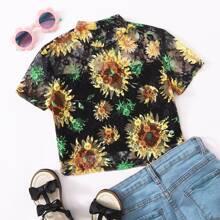 Girls Mock-neck Sunflower Lace Overlay Top