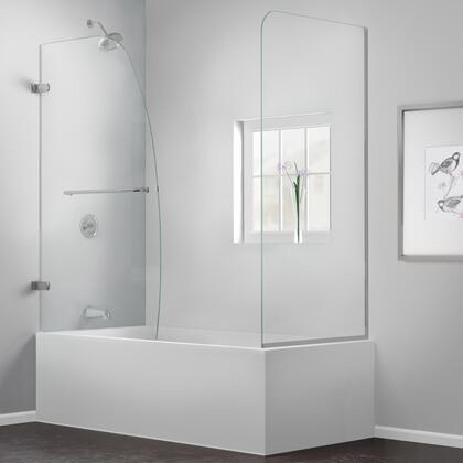 SHDR-3534586-RT-04 Aqua Uno 56-60 In. W X 30 In. D X 58 In. H Frameless Hinged Tub Door With Return Panel In Brushed