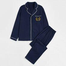 Men Leaf & Letter Embroidered Top & Pants PJ Set