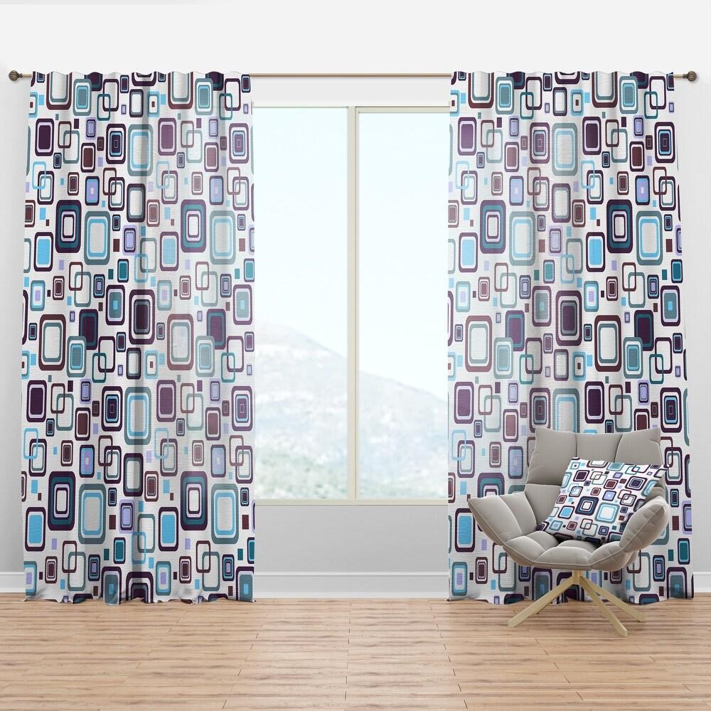 Designart 'Retro Square Design I' Mid-Century Modern Curtain Panel (50 in. wide x 108 in. high - 1 Panel)