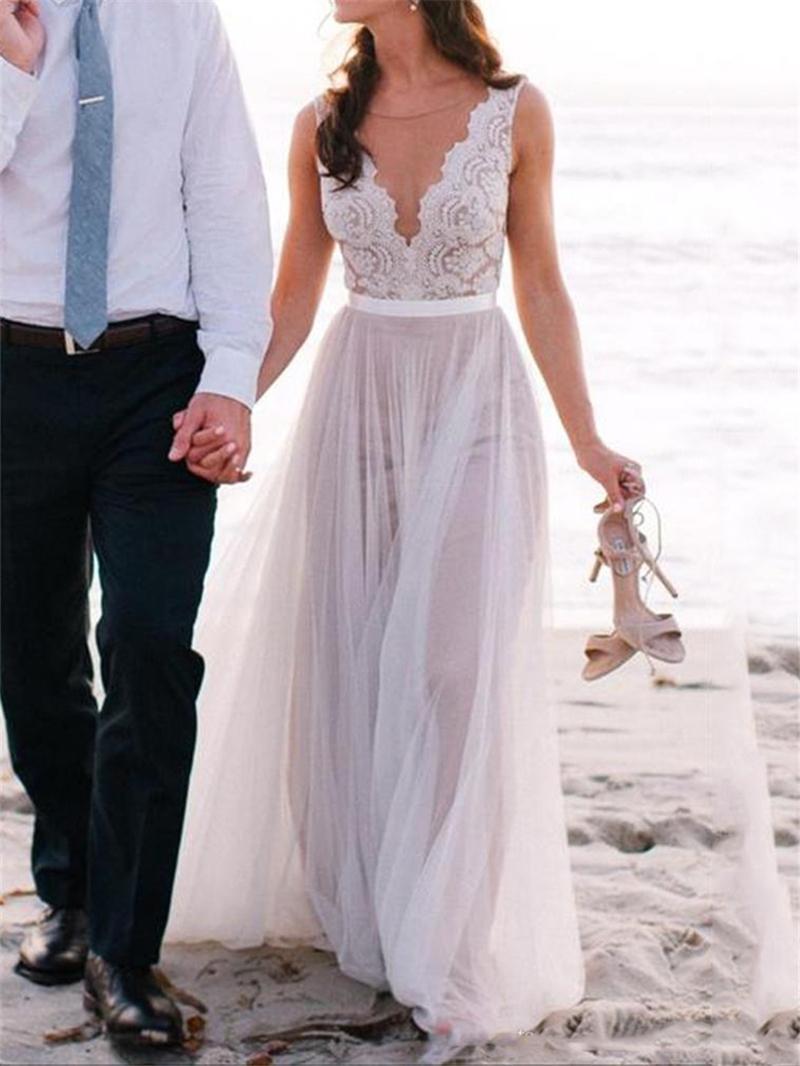 Ericdress Illusion Neckline Lace Beach Wedding Dress