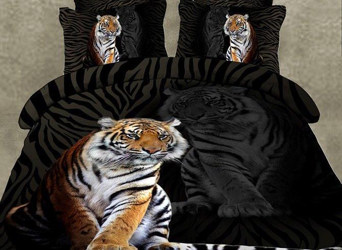 Powerful Tiger Print Black 2-Piece Pillow Cases