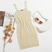 Cable Knit Cami Sweater Dress