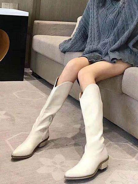Milanoo Botas de media pantorrilla para mujer Botines de vaquero con punta estrecha de cuero PU marron cafe
