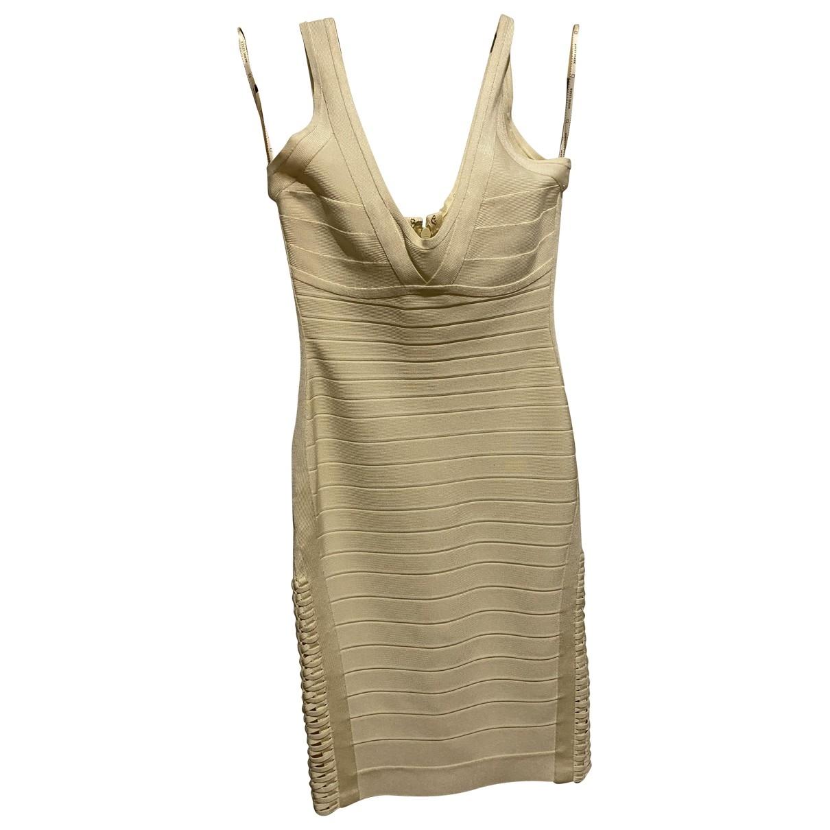 Herve Leger \N Kleid in  Beige Synthetik