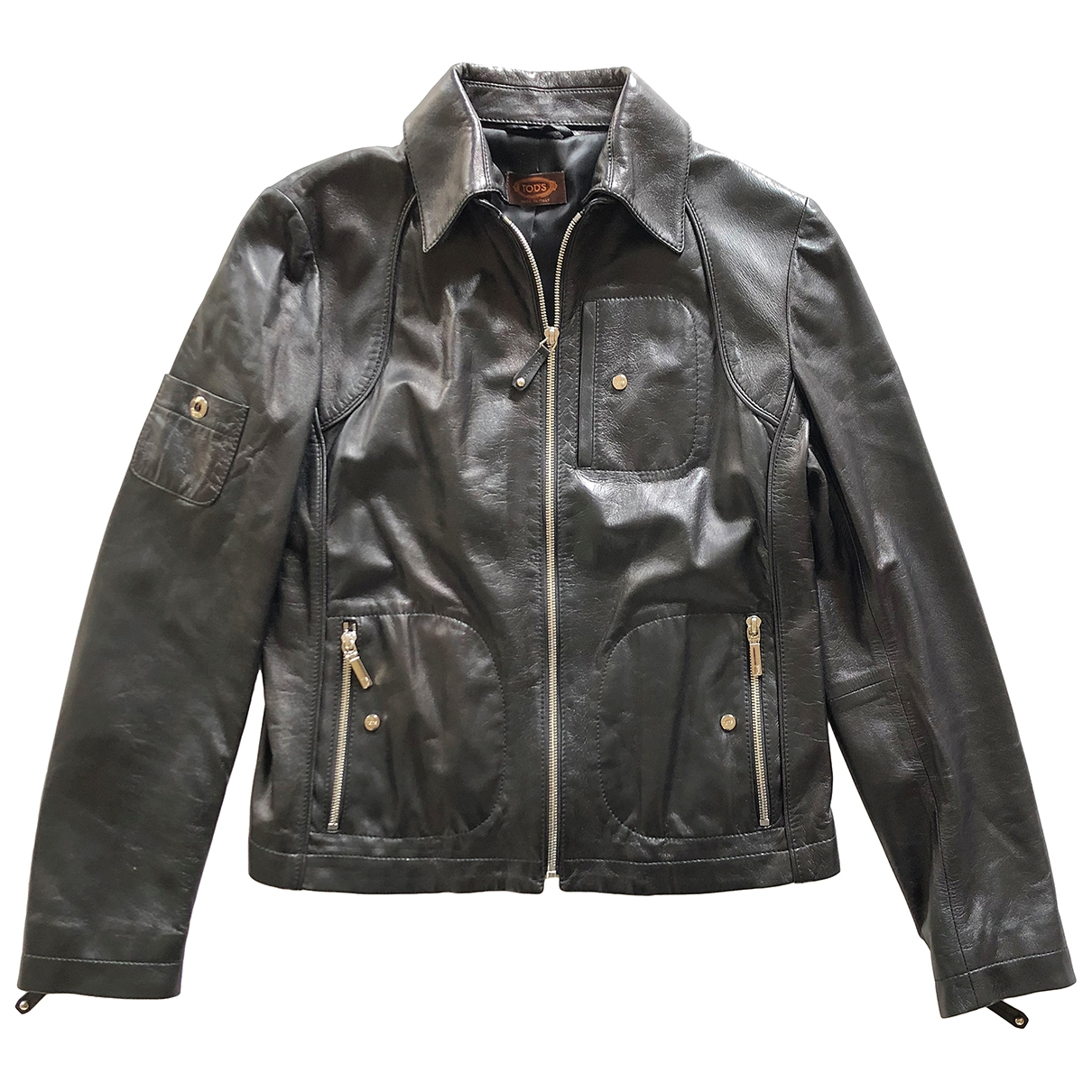 Tod's \N Black Leather Leather jacket for Women 44 IT