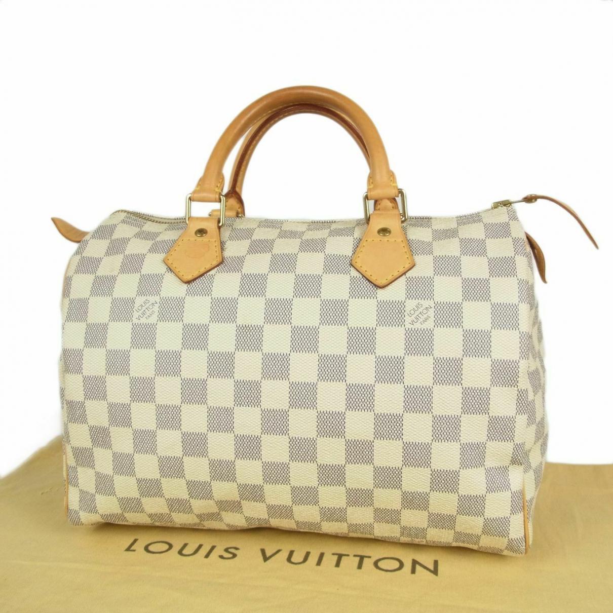 Louis Vuitton - Sac a main Speedy pour femme en cuir - blanc