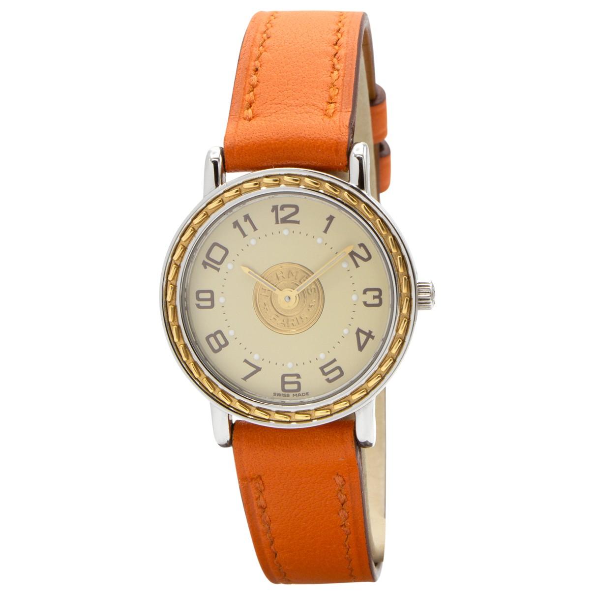 Hermes Sellier Uhr in  Orange Vergoldet