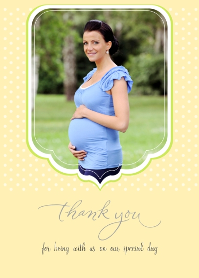 Shower Thank You Cards 5x7 Folded Cards, Standard Cardstock 85lb, Card & Stationery -Baby Polka Dot Thank You