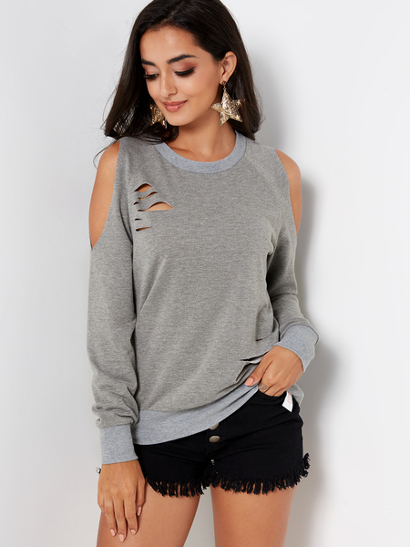 Yoins Grey Random Ripped Details Plain Cold Shoulder Long Sleeves T-shirts