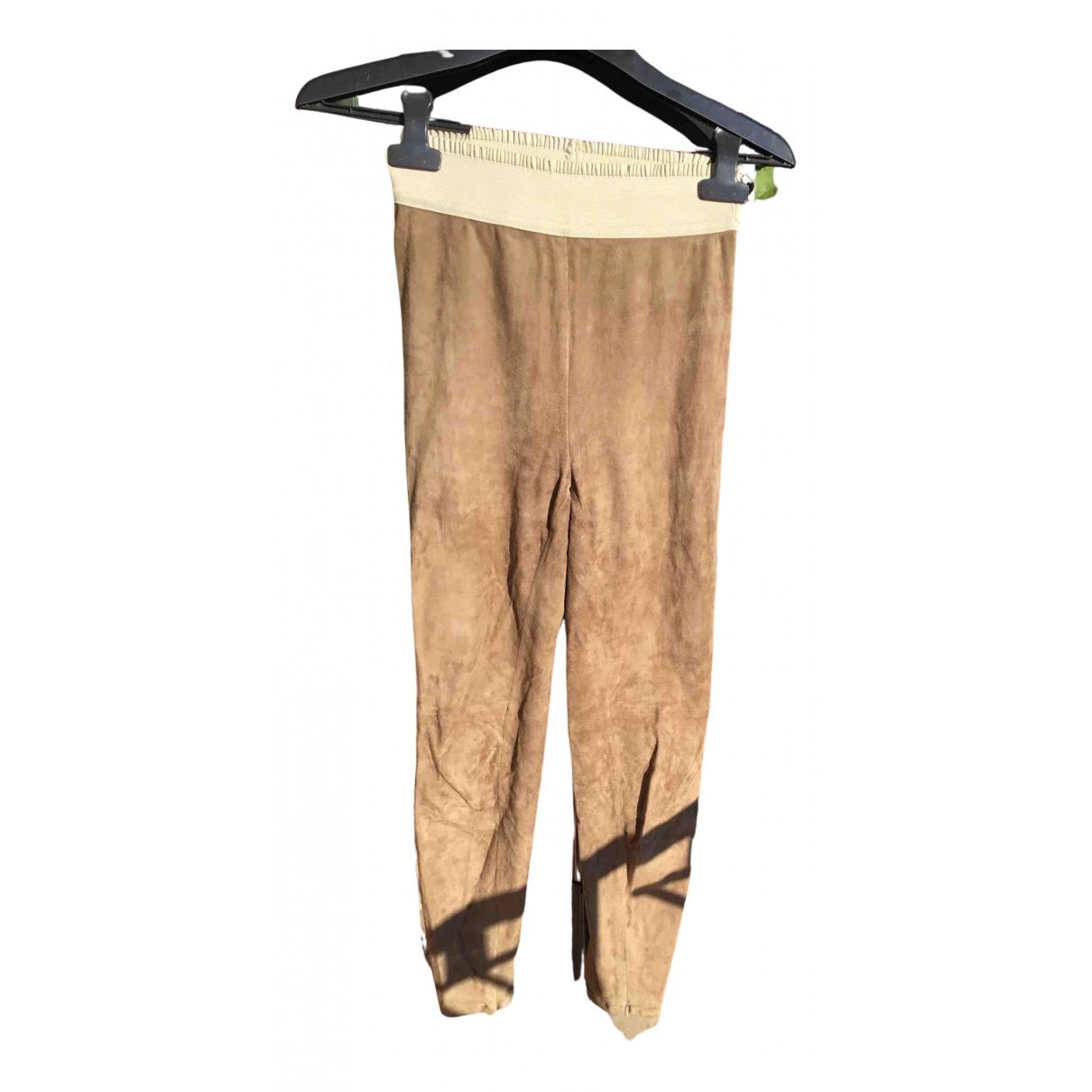 Ralph Lauren N Beige Leather Trousers for Women 34 FR
