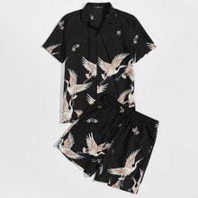 Maenner Hemd mit Kranich Muster und Shorts Set