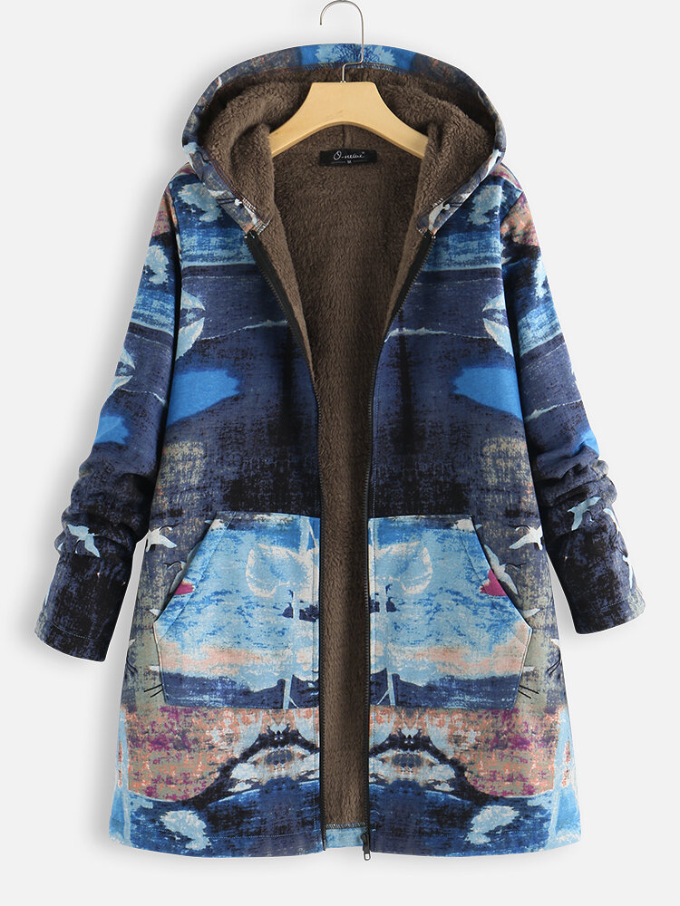 Ocean Dusk Print Fleece Plus Size Hooded Coat with Pockets