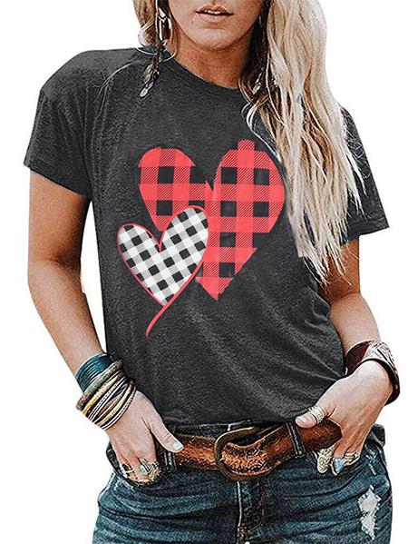 Yoins Grey Heart Print Crew Neck Short Sleeves Tee