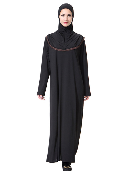 Milanoo Maxi Abaya Dress Long Sleeve Hooded Two Tone Muslim Dress
