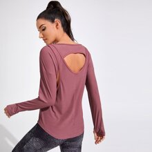 Cut Out Drop Shoulder Thumb Holes Sports Tee