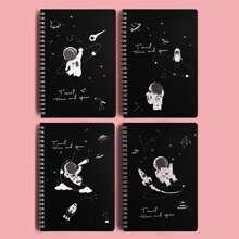 4packs Astronaut Print Cover Spiral Notebook