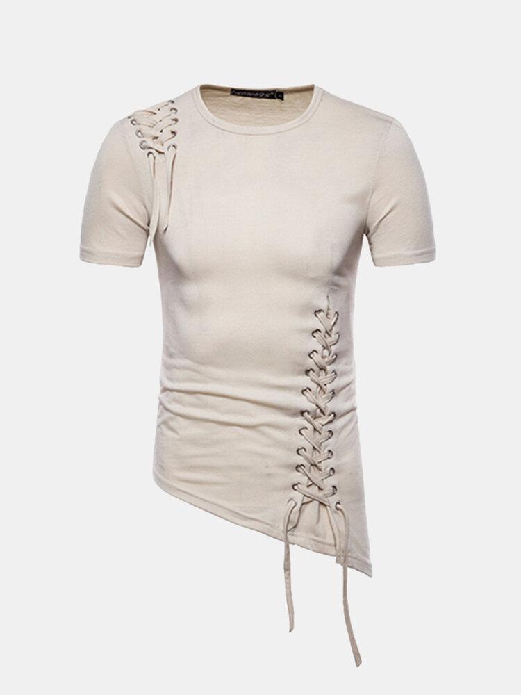 Mens Unique Braided Rope Design Irregular Hem Slim Fit Casual Summer T Shirts