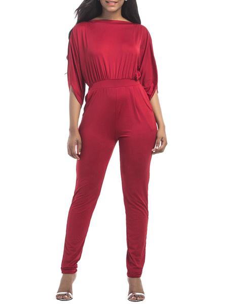 Milanoo Mono corto de verano con mangas rojas y medias mangas de algodon