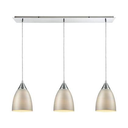 56530/3LP Merida 3 Light Linear Pan Pendant in Polished Chrome with Silver Linen
