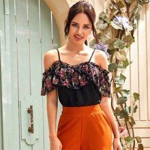 Cold Shoulder Floral Print Ruffle Cami Blouse