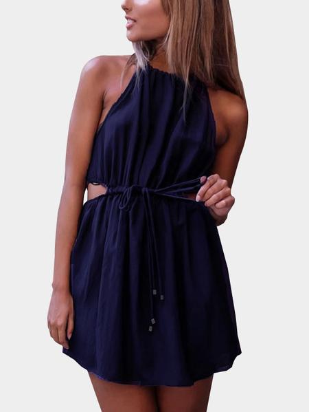Yoins  Halter Cutout Drawstring Waist Mini Dress in Blue