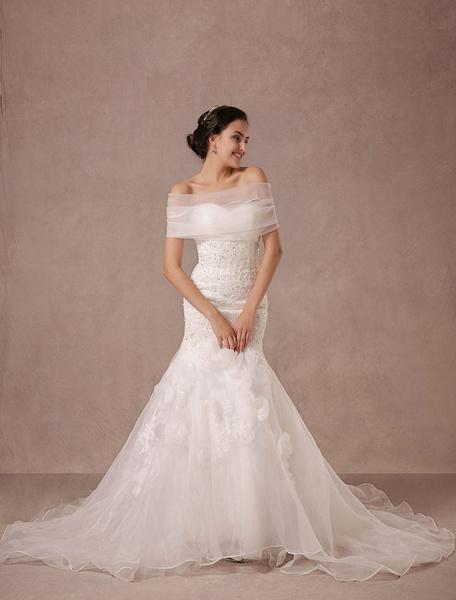Milanoo Sirena Vestido encaje rebordear tren Chaple nupcial vestido de novia con abrigo desmontable Organza y apliques de flores