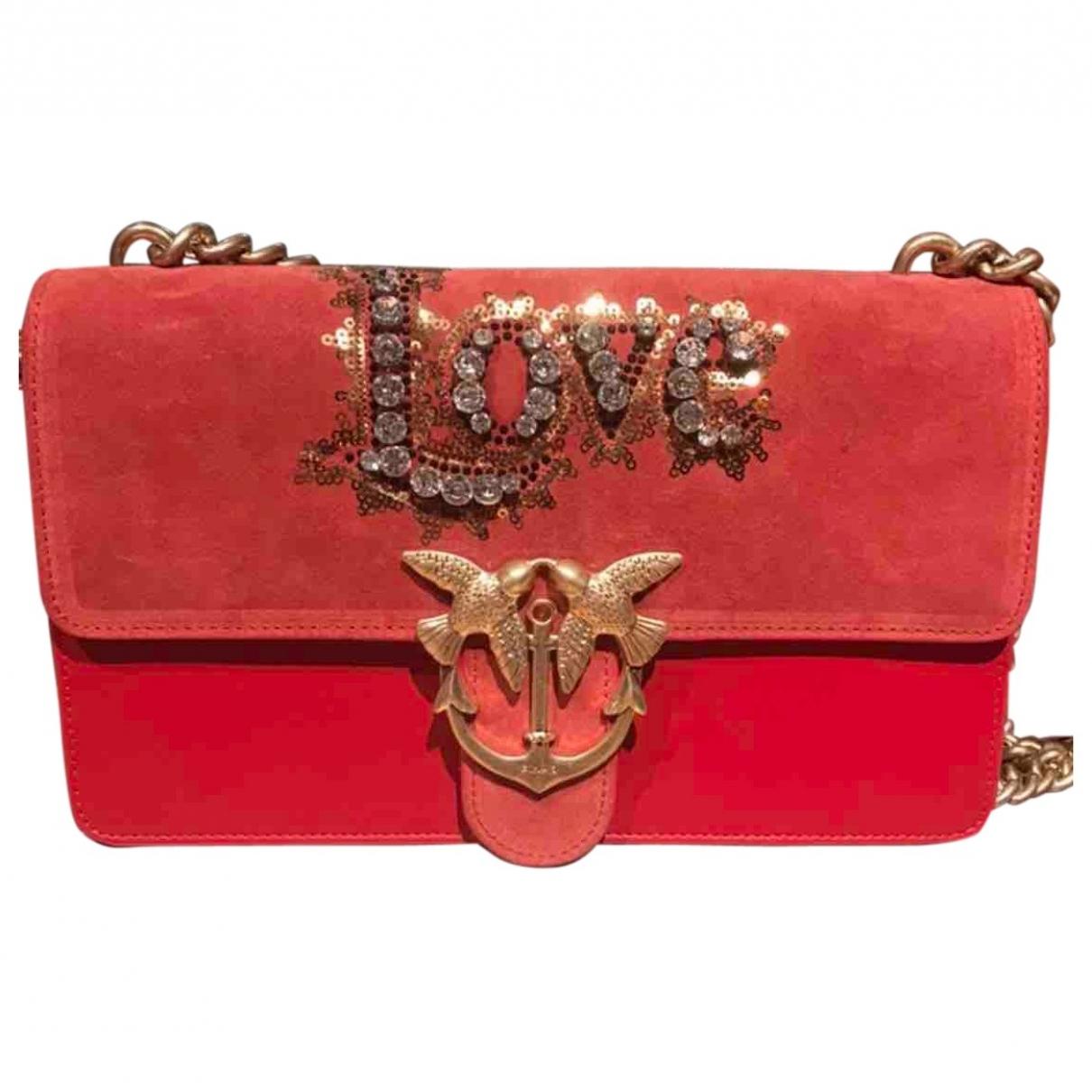 Bolsos clutch Love Bag en Ante Rojo Pinko