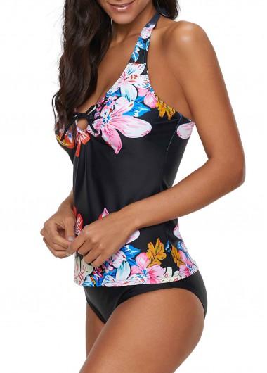 Easter Rosewe Women Black Floral Halter Neck Tankini Swimsuit Bowknot Detail Halter Neck Flower Print Tankini Set - S