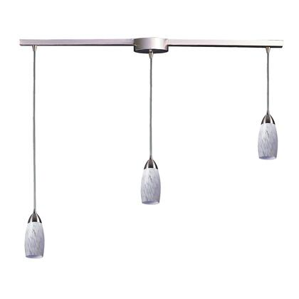 110-3L-SW 3 Light Pendant in Satin Nickel and Snow White