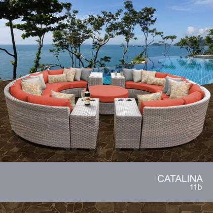 FLORENCE-11b-TANGERINE Florence 11 Piece Outdoor Wicker Patio Furniture Set 11b with 2 Covers: Grey and