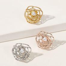 Peine de pelo con diseño de flor con diseño de perla artificial 3 piezas