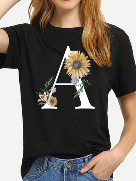 Milanoo Camiseta de manga corta con estampado de girasol y cuello de joya para mujer