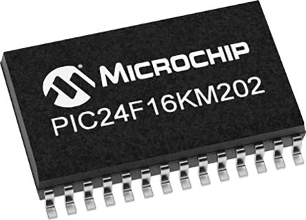 Microchip PIC24F16KM202-I/SO, 16bit PIC Microcontroller, PIC24F, 32MHz, 16 kB Flash, 28-Pin SOIC (27)