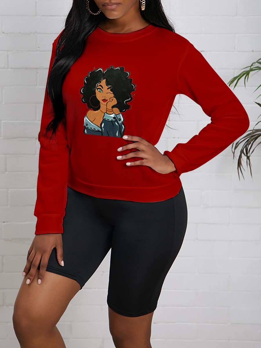 LW Lovely Casual O Neck Print Loose Red Hoodie