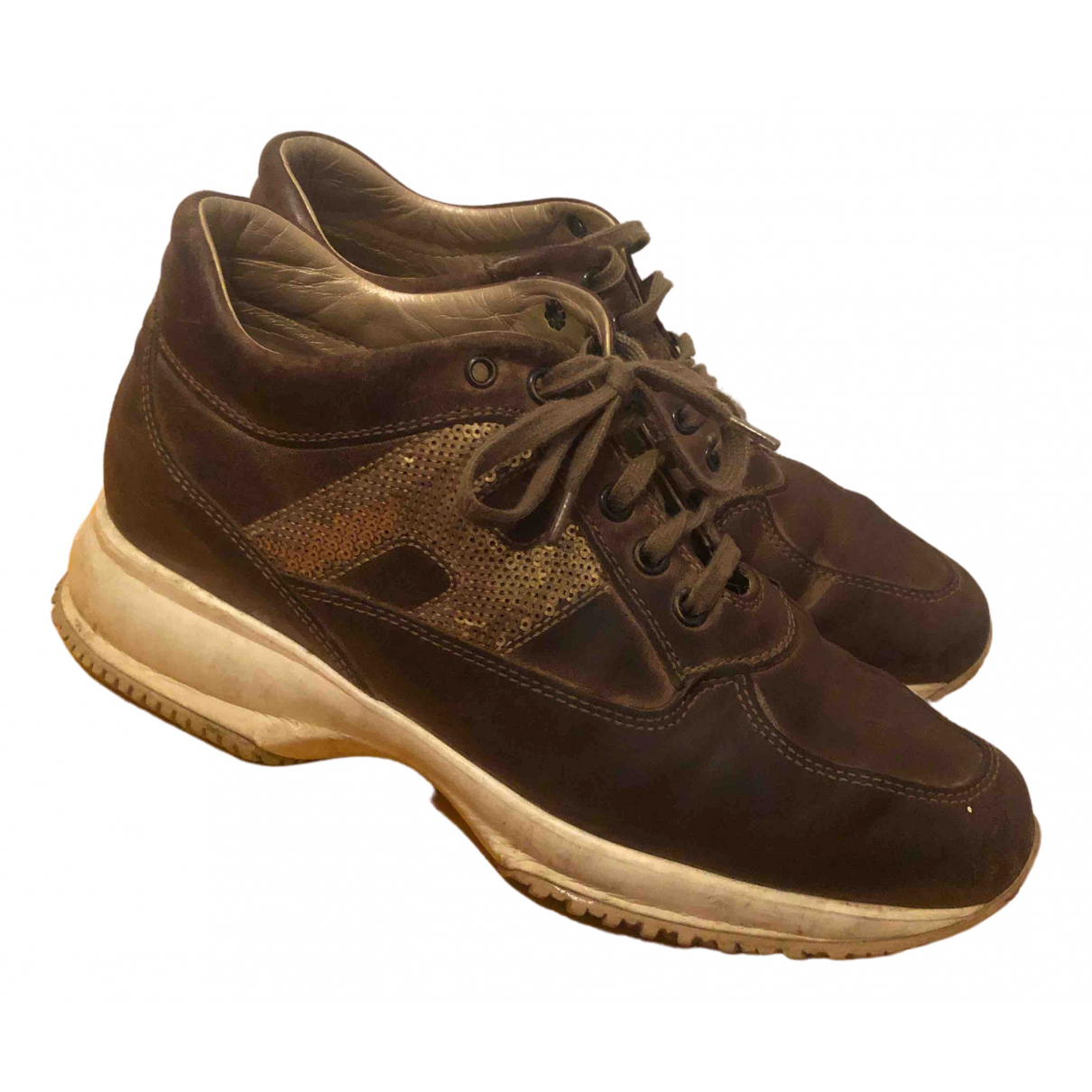 Hogan N Brown Leather Lace ups for Women 37 IT