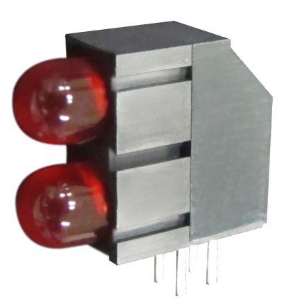 Kingbright L-1503EB/2ID, Red Right Angle PCB LED Indicator, 2 LEDs, Through Hole 2.5 V (20)