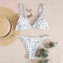 Butterfly Triangle Tanga Bikini Swimsuit
