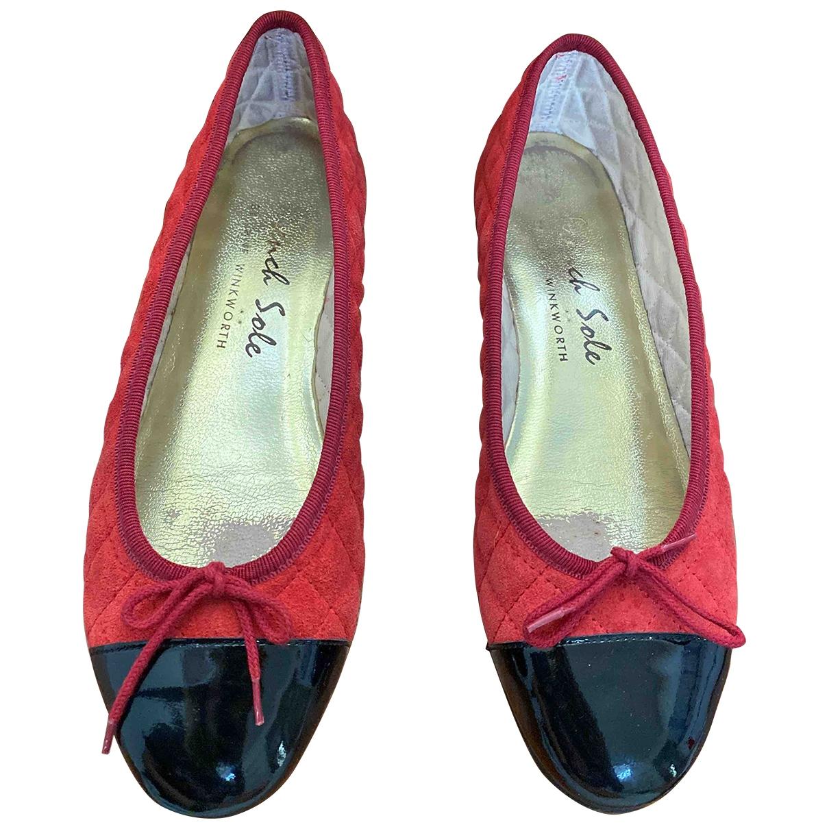 French Sole \N Ballerinas in  Rot Veloursleder