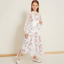 2 In 1 Kleid mit Wimpern Spitzen, Blumen Muster und Netzstoff