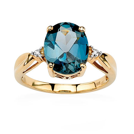 Womens Diamond Accent Genuine Blue Topaz 18K Gold Over Silver Cocktail Ring, 10 , No Color Family