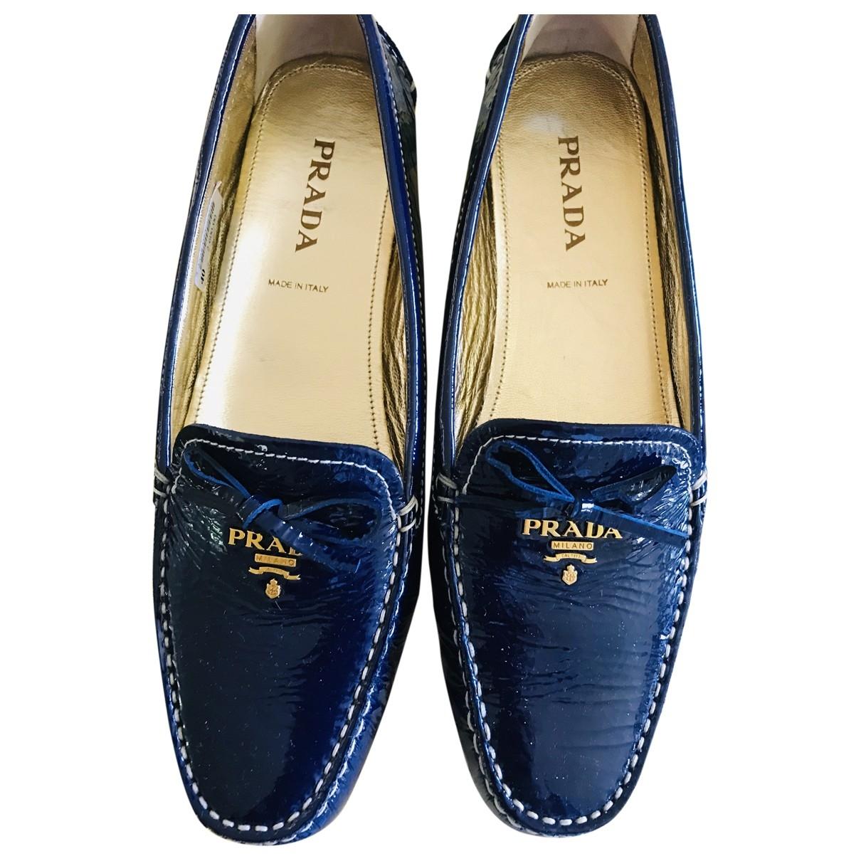 Prada \N Blue Patent leather Flats for Women 40 EU