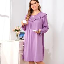 Plus Ruffle Trim Flounce Sleeve Night Dress