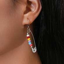 Bead Decor Safety Pin Drop Earrings