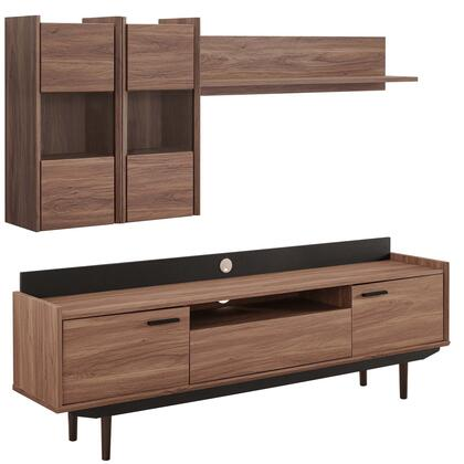 Visionary Collection EEI-3730-WAL-BLK-SET 2 Piece ment Center in Walnut Black