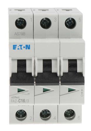 Eaton xEffect 16 A MCB Mini Circuit Breaker, 3P Curve C