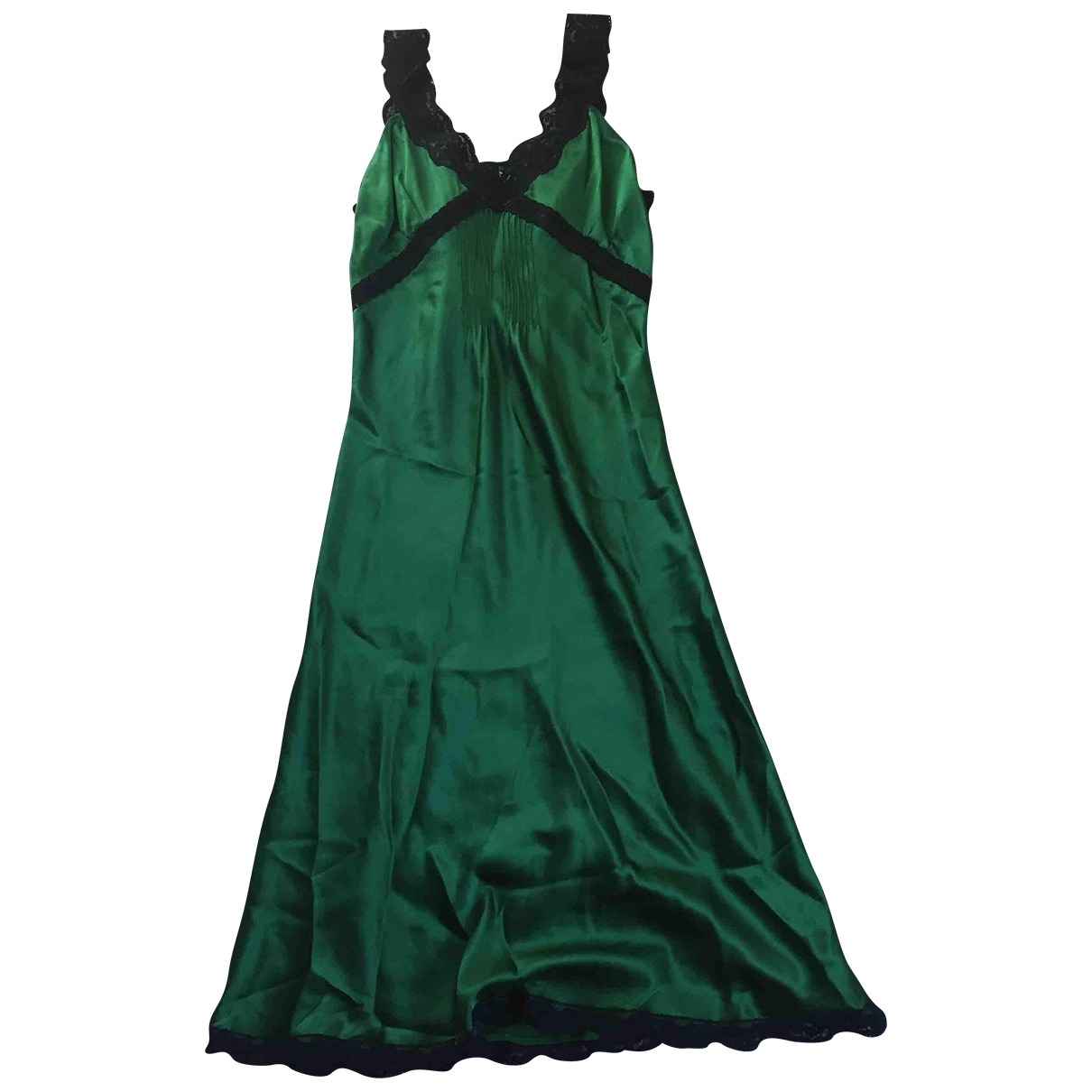Non Signé / Unsigned \N Green Silk dress for Women 40 IT